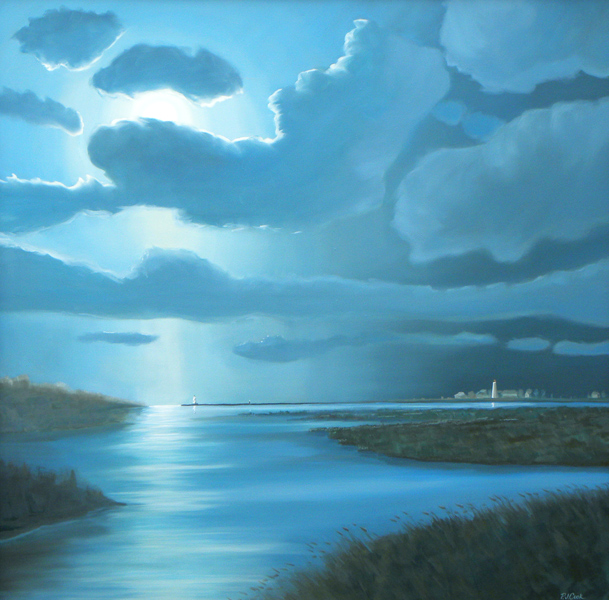 Moonlight painting CT river with Old Saybrook Lighthouse