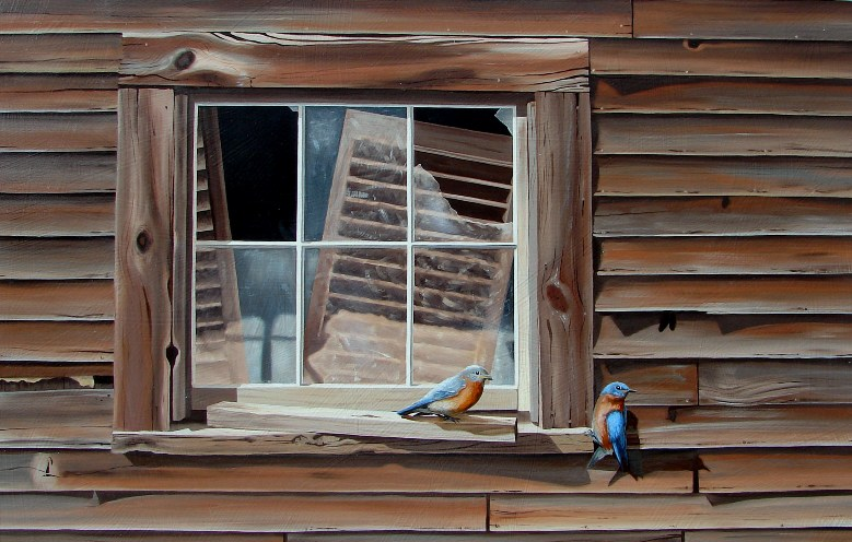 two bluebirds on weathered window sill