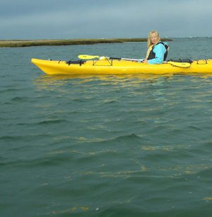 PJ Cook kayaking in Cape Cod.