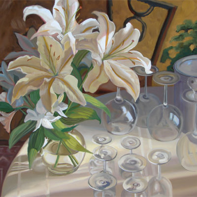 still life oil painting with lilies and wine glasses on table