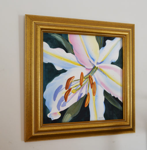 colorful lily flower painted in watercolor
