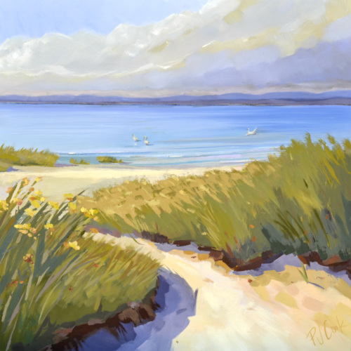 oil on canvas of sand dune path and white swans