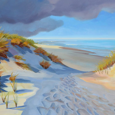 oil painting of beach with dune