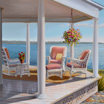 Seaside porch with flowers landscape painting by artist P.J. Cook