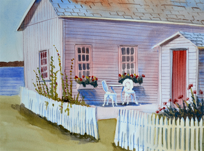 beach house with white chairs and flowers watercolor
