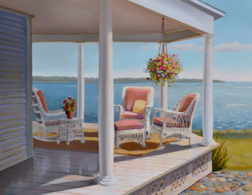 Wicker on a porch overlooking a bay