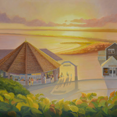 sunset at the watch hill carousel oil painting by PJ Cook.