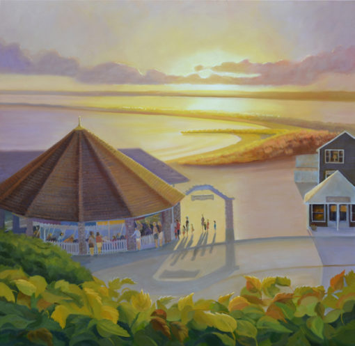 "Watch Hill Carousel Sunset Oil Painting, 40"" x 40"" oil on canvas."