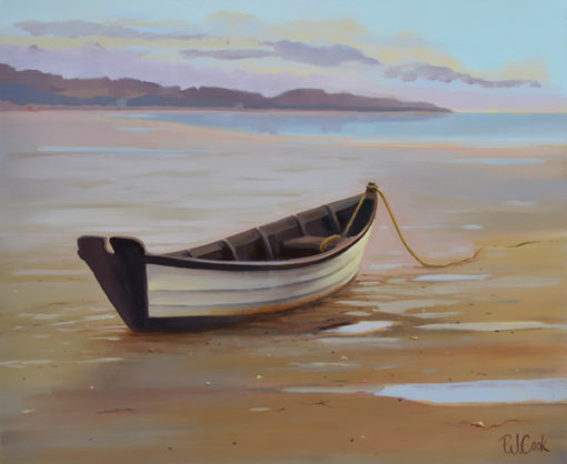 Wooden Dory boat at low tide, oil on canvas by PJ Cook.