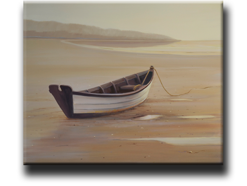 marine painting of a dory at low tide