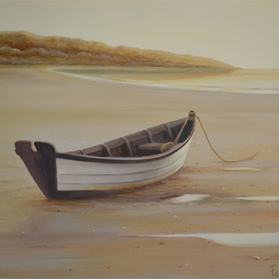 oil painting of a dory at low tide