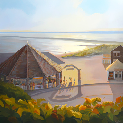 Watch Hill carousel merry go round in the late day sunlight. Oil on canvas