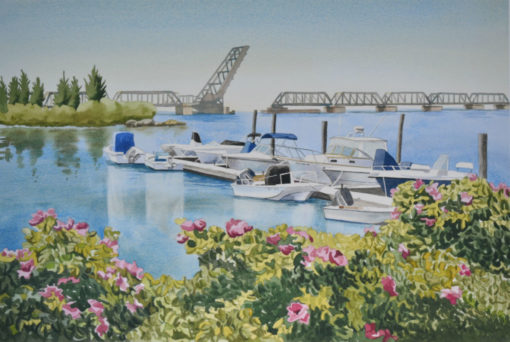 watercolor of marina with boats and roses and a bridge by PJ Cook
