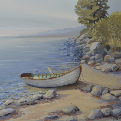 dory on a shoreline oil painting by P.J. Cook