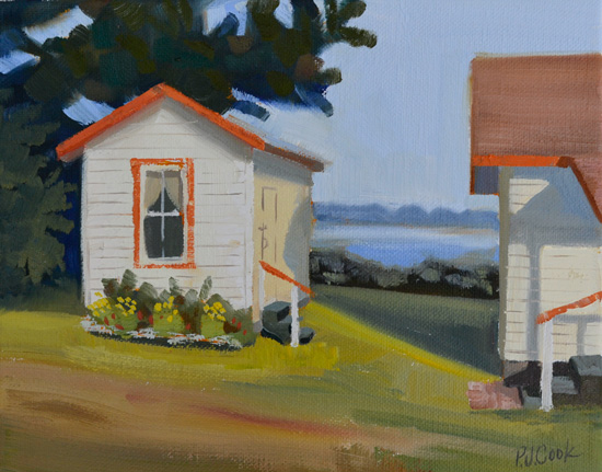 the guest cottage on the water is the theme of this original oil painting.