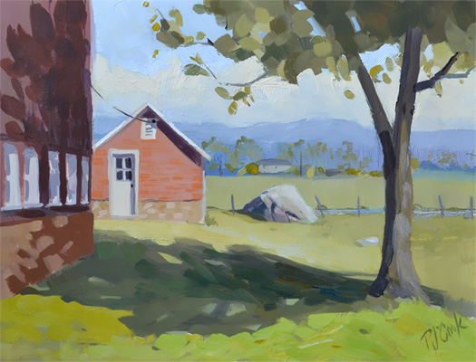 red barn landscape painting with milk house
