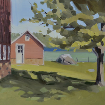 red barn landscape painting of the milk house