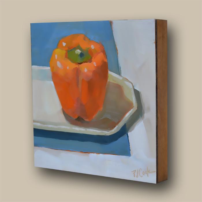 fruit still life original oil painting of an orange bell pepper by artist PJ Cook