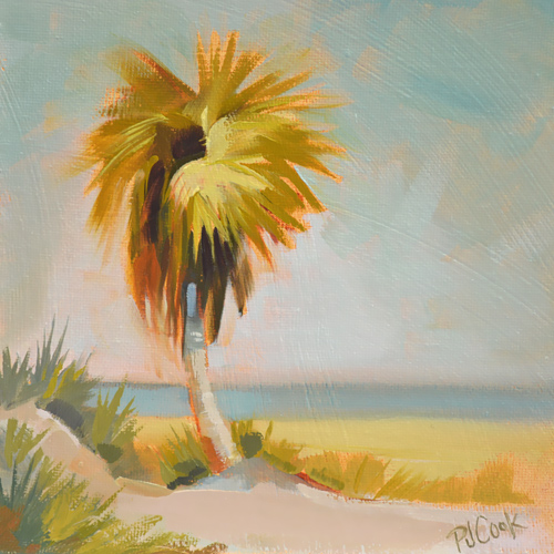 florida palm tree, ocean scene, 6x6 oil on panel original oil painting