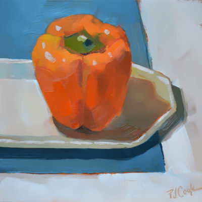 fruit still life original oil painting of an orange bell pepper by artist PJ Cook