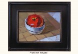 Big apple in a cup still life is featured in this original oil on canvas by artist PJ Cook