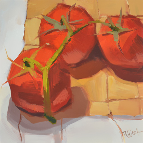 three tomatoes on the vine oil painting still life by PJ Cook.