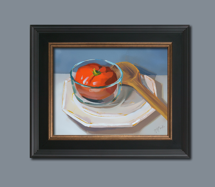 """Tomato Soup"" in a dark wood frame, ©2015 PJ Cook."