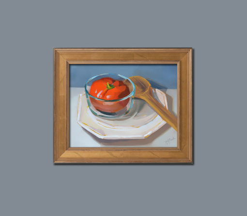 """""""Tomato Soup"""" in a gold wood frame, ©2015 PJ Cook."""