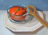 tomato still life oil painting by artist PJ Cook