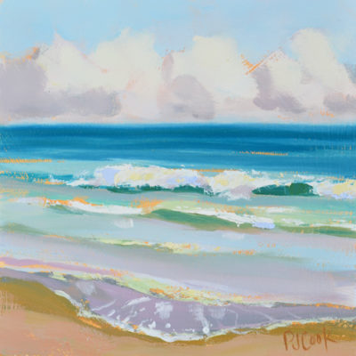 ocean waves, oil on panel, 6x6 ft lauderdale
