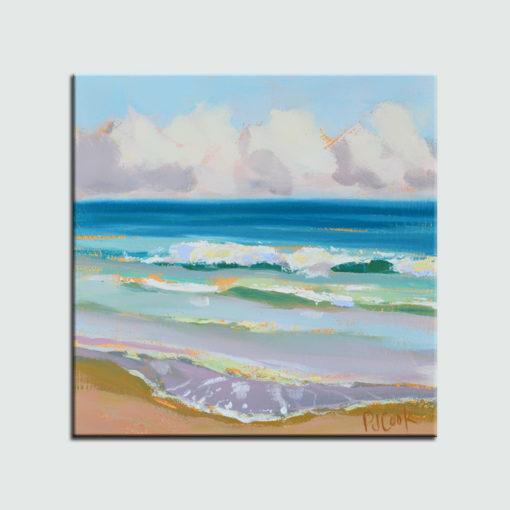 ocean waves, oil on panel, 6x6 fort lauderdale