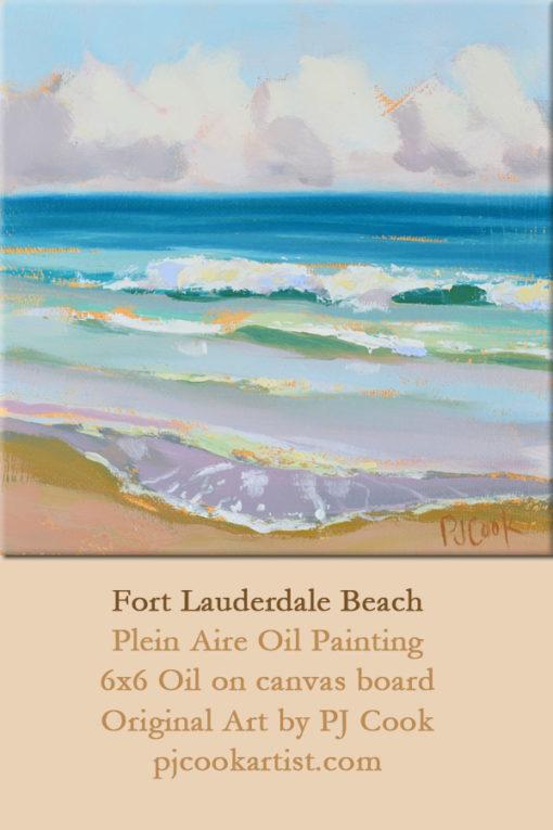 ocean waves, oil on panel, 6x6 ft lauderdale