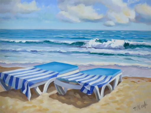 ocean, sun, beach, waves, beach chairs,
