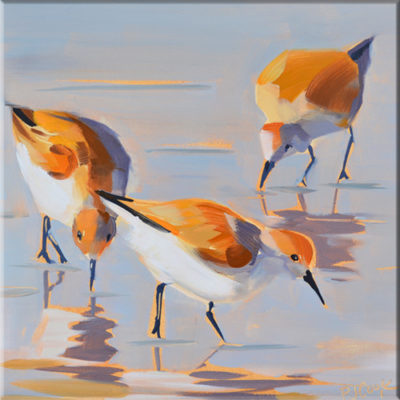 wading birds looking for food is featured in this oil painting by PJ Cook