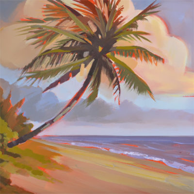 palm tree beach and colorful clouds are featured in this Florida sunrise oil painting.