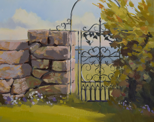 Harkness Park gate is featured in this 8 x 10 oil on canvas.
