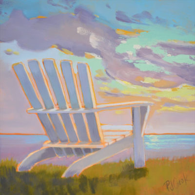 6x6 original oil on gesso board, colorful sunset PJ Cook.