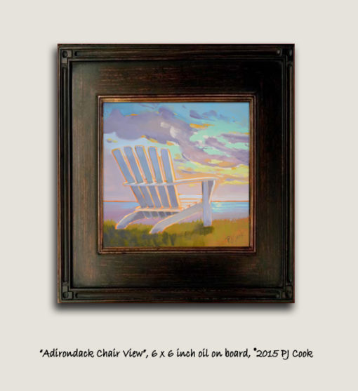 6x6 original oil on gesso board, colorful sunset PJ Cook.