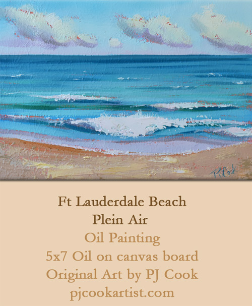ocean waves, oil on panel, 5x7 ft lauderdale beach