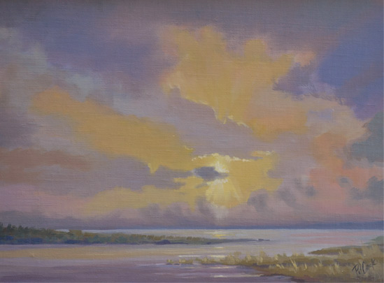 """Sunset On the Marsh"" 9"" x12"" oil on linen board, ©2015 PJ Cook."