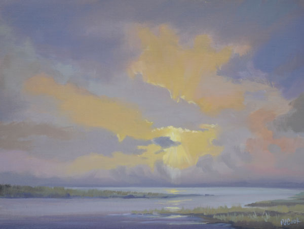 sunset oil painting, marsh water sunset color