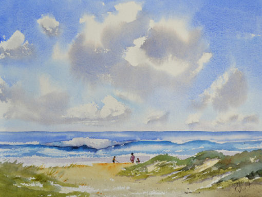 beach sand dunes ocean waves original watercolor painting