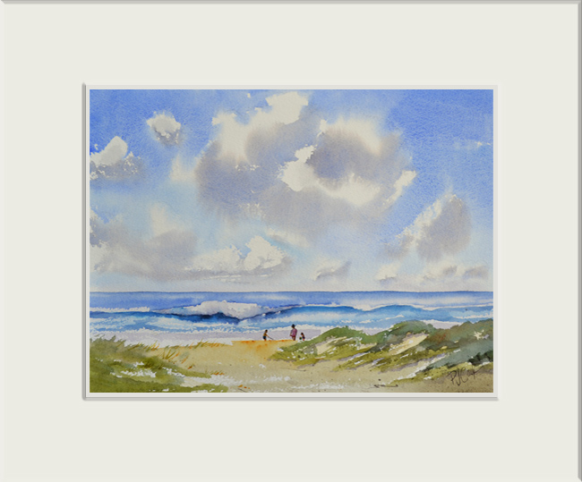 beach sand dunes ocean waves original watercolor painting
