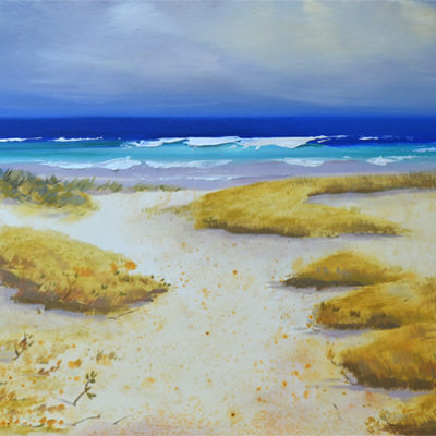 sand dunes, ocean waves landscape oil painting by PJ Cook.