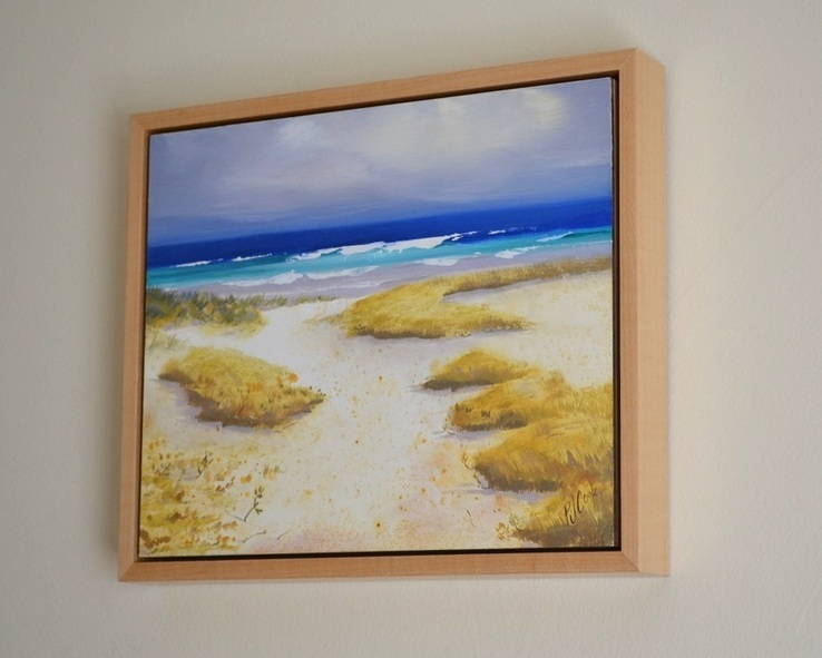 To the Ocean sand dunes, ocean waves landscape oil painting by PJ Cook.