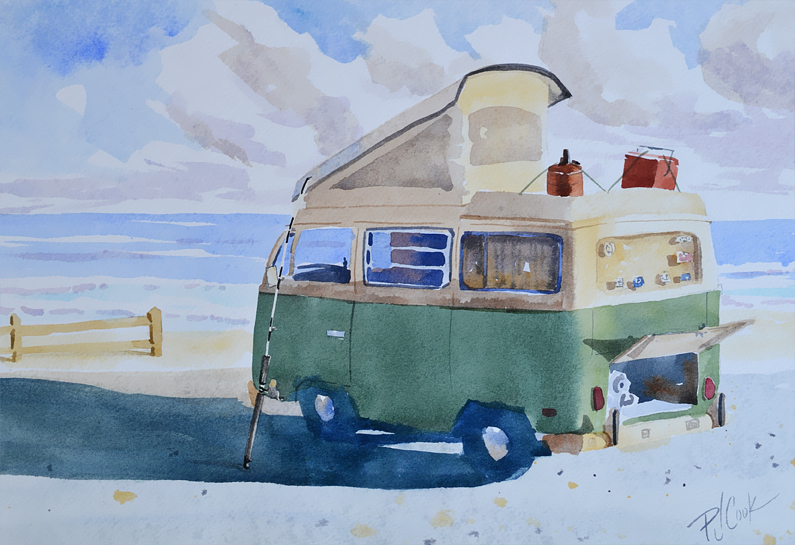 old vw camper van parked at the beach, fishing rod.
