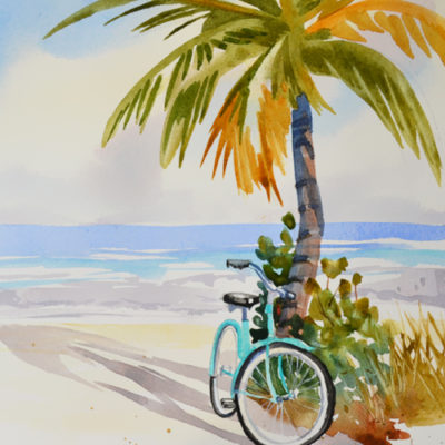 beach painting palm tree, bicycle and ocean are featured in this original watercolor