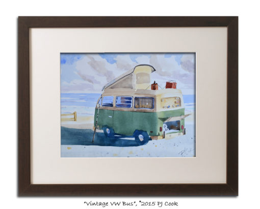old vw bus camper van parked at the beach, fishing rod.