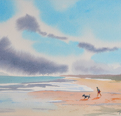 watercolor featuring man and dog walking on a blustery beach
