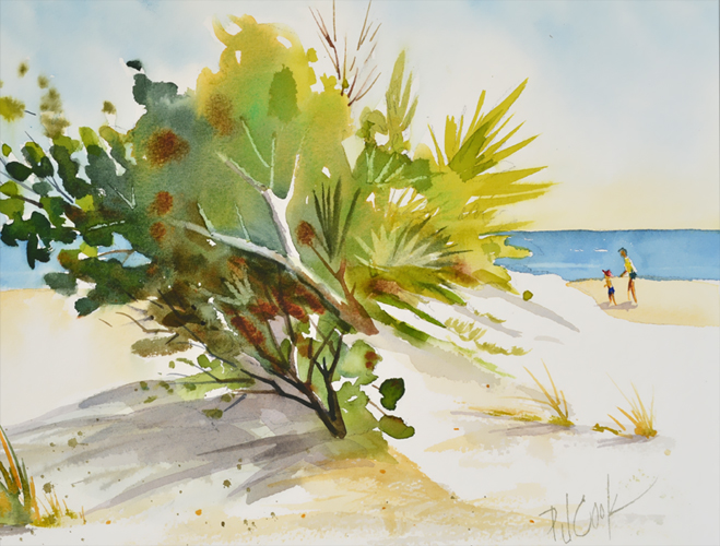 beach landscape painting, sand dunes and green grass and shrubs are featured along with a parent and child walking in this original watercolor painting.